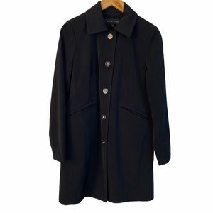 Anne Klein black button front raincoat